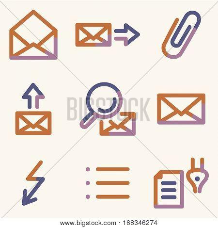 E-mail icons set 2, color contour series
