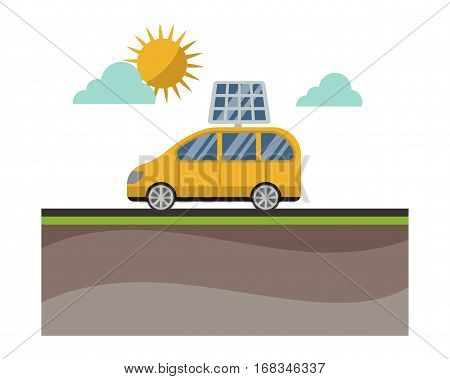 Solar energy power electricity technology car concept vector. Industrial clean electrical alternative panel modern innovation generator transportation.