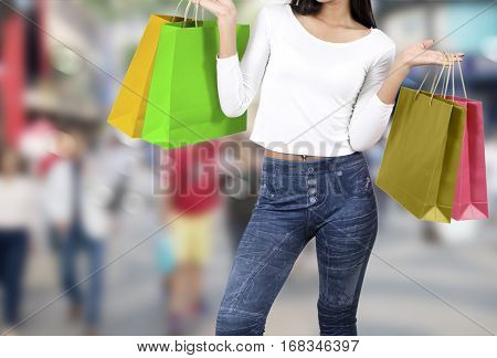 Woman Shopping On Street