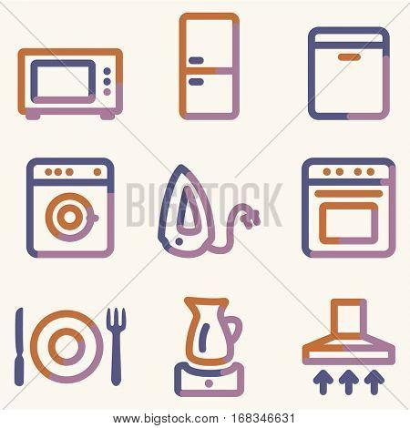 Home appliances icons, color contour series