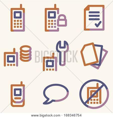 Mobile phone icons set 1, colour contour series