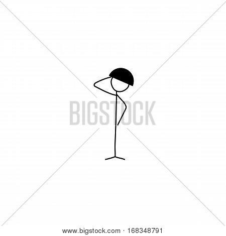 Cartoon icon of sketch stick figure soldier vector