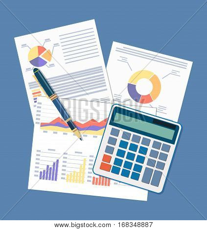 Business document concept. picture of financial report with graphs, calculator and pen. vector illustration in flat style