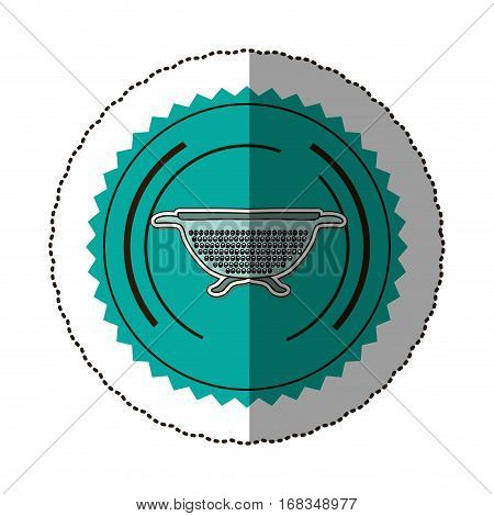 sticker color round frame with kitchen drainer vector illustration