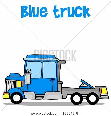 Illustration of blue truck transport collection stock