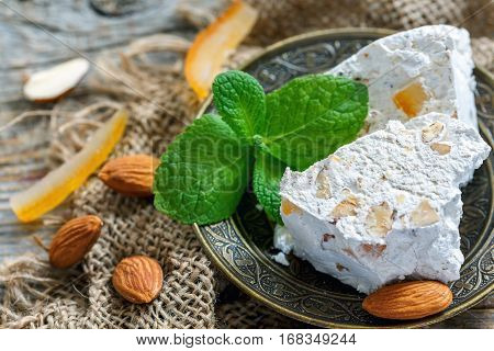 Almond Nougat With Candied Fruit And Mint.