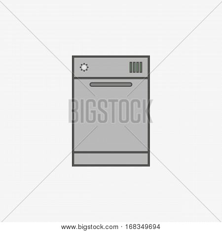 Simple vector icon of dishwasher in flat style.
