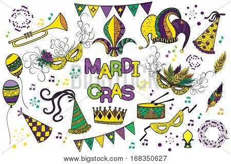 Mardi Gras or Shrove Tuesday colorful design element set. Mardi Gras carnival mask and hats, jester's hat, crowns, fleur de lis, feathers, party decorations. Vector illustration, clip art collection