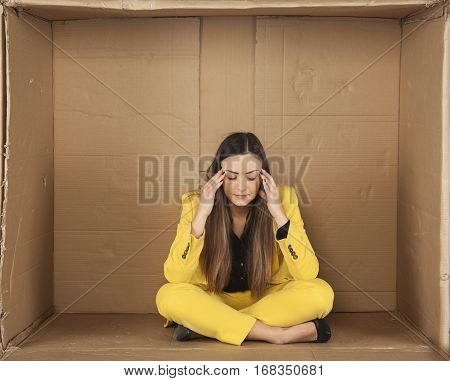 Woman Has A Headache, A Small Room