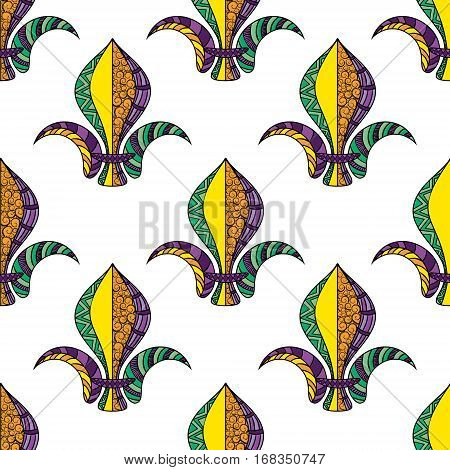 Mardi Gras or Shrove Tuesday seamless pattern. Colorful carnival background with fleur de lis. Vector illustration on white background
