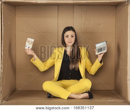 Business Woman Holding Money And Calculator