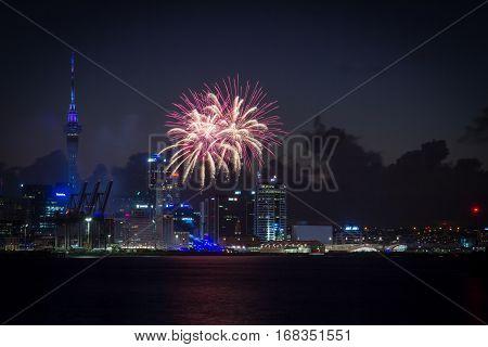 AUCKLAND NZ - JAN 31: Fireworks against the Auckland Skyline celebrating Auckland Anniversary Weekend Jan 31 2016