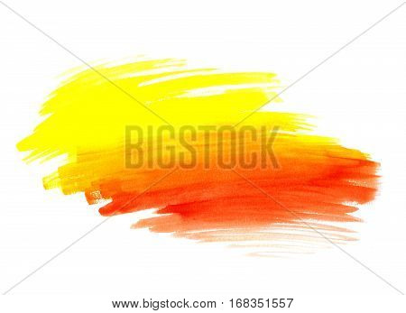 Bright Yellow And Red Paint Shape On White Background