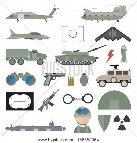 Army concept with military munition, army vehicles
