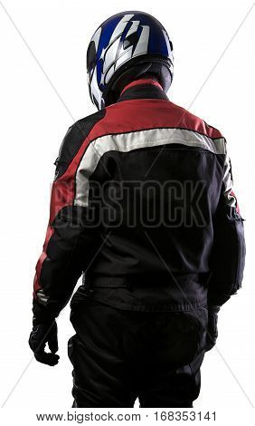 Man wearing a protective leather and textile racing suit for race cars and motorcycle motor sports. The gear is armored with a helmet and worn by bikers and professional drivers. The man is isolated on a white background.