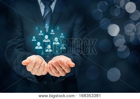 Customer care, care for employees, human resources, employment agency and marketing segmentation concepts. Leader manage his team.