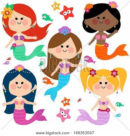 Vector Illustration of a cute colorful mermaid princesses, fish and starfish vector set.