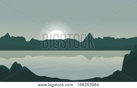 Silhouette of cliff and lake landscape vector illustration