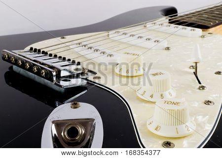 A shot of an electric guitar up close