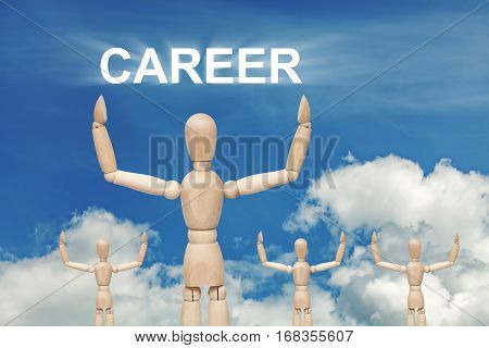 Wooden dummy puppet on sky background with word CAREER. Abstract conceptual image