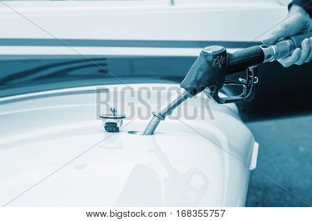 Refueling aircraft refueling service pistol in hand