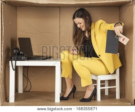 Business Woman With A Bribe, Curls Up In Pain