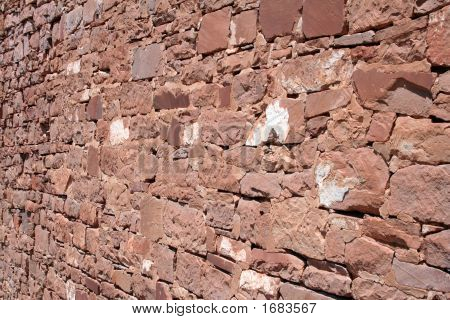 Red Brick And Stone Dry Stack Wall