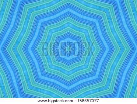 Bright blue and green background with concentric pattern