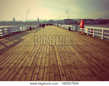 Wooden pier in Sopot, Poland. The most popular tourist attraction in Sopot. Novemer, 2016.