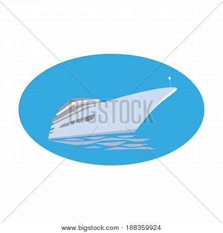Nautical symbol concept. Ocean liner icon. Freehand drawn cartoon style. Maritime sea cruise ship vessel tour emblem. Vector seashore journey advertisement label background. Marine logo template
