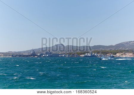 views of Mediterranean coast from sea, warships, Toulon, France