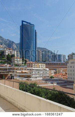 MONTE CARLO, MONACO - AUG 3, 2016: 48-storey residential tower 170 meters high, called Tour Odeon