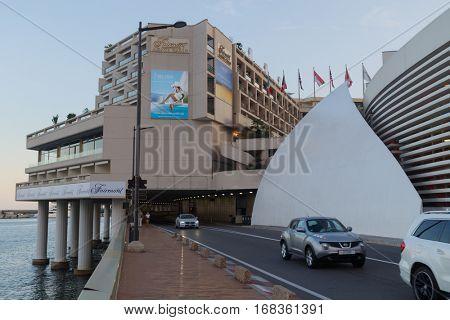 MONTE CARLO, MONACO - AUG 2, 2016: Grand Prix tunnel and hotel Fairmont on an ordinary day.