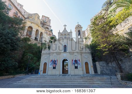 MONTE CARLO, MONACO - AUG 2, 2016: Church of Saint Devote - temple dedicated to patron saint of Principality of Monaco