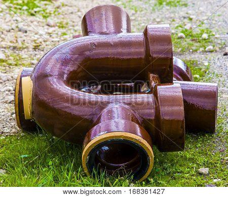 Close up siphon horizontal sewerage vitrified clay