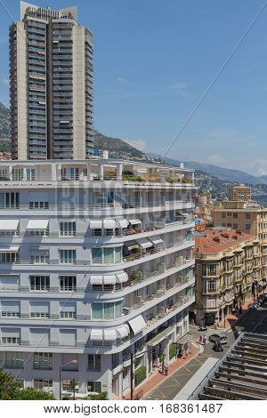 MONTE CARLO, MONACO - AUG 3, 2016: view of high rise, apartment building and street of one of densely populated districts of Monaco