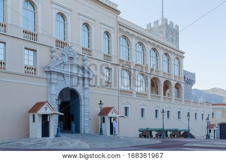 MONTE CARLO, MONACO - AUG 3, 2016: Princes Palace of Monaco, residence of Princes of Monaco, initially, Genoese fortress, built in 1191.