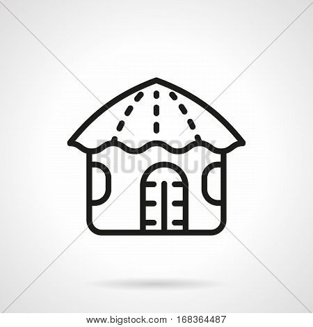 Symbol of Hawaiian hut with grass roof. Ethnic houses and buildings concept. Tropical summer resort. Black simple line design vector icon.