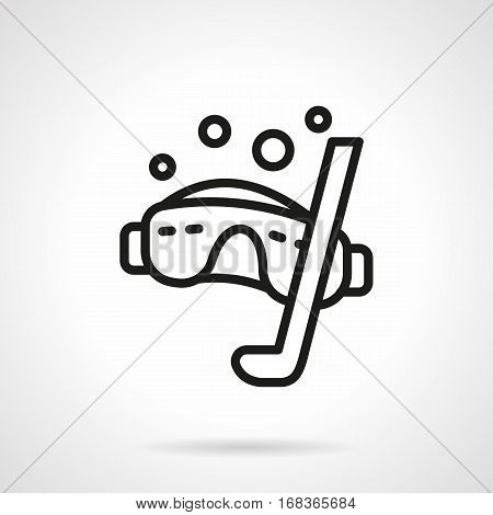 Diving mask with snorkel and bubbles. Equipment and accessories for snorkeling, underwater sport. Summer sea resort. Black simple line design vector icon.