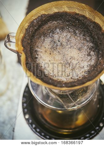 Coffee drip Coffee ground with filter and water