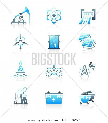 Energy, power and electricity blue-gray icon-set