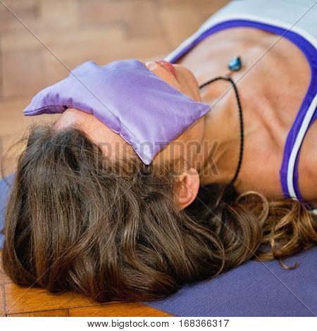 Yoga Savasana With Lavender Eye Pillow