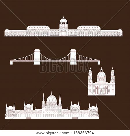 Hungarian City sights in Budapest. Hungary Landmark Global Travel And Journey Infographic. Architecture Elements Buda castle Chain Bridge. Budapest parliament St. Istvan basilica