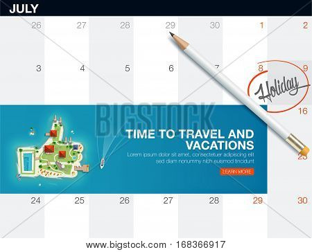 Top view of the island in the form of a like. Finger up island. Calendar list with creative travel banner for Travel and tourism.