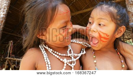 Native Brazilian children playing in Amazon, Brazil