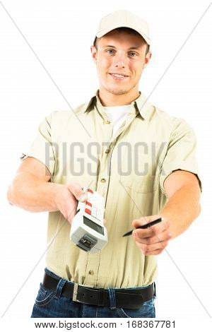 a studio shot of a delivery person, isolated on white. he is handing you his barcode reader for you to confirm the receipt of your parcel.