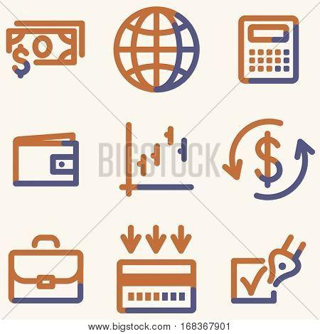 Finance icons, light blue contour