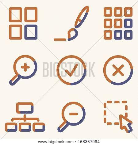 Image viewer icons, light blue contour