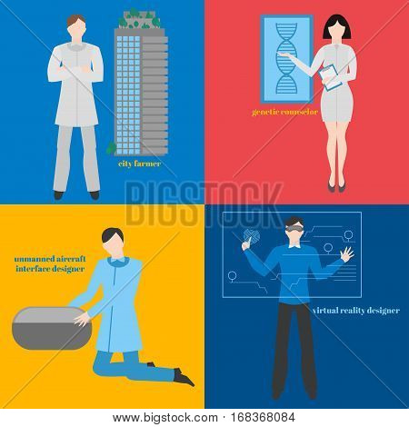 Future professions set. Futuristic occupation. Man with VR headset. Designer Virtual reality. City farmer. Genetic counselor. Unmanned aircraft interface designer