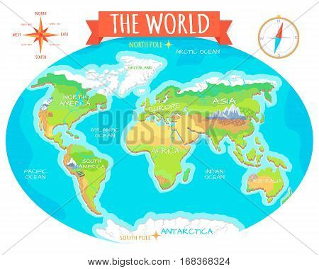 The World geographical map. Names of continents, oceans. North and South America, Europe, Asia, Australia, Africa, Antarctica. Vector illustration. Pacific Ocean Atlantic Ocean Indian Arctic Ocean